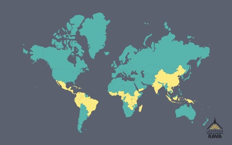 mapa zemí, kde se pěstuje káva