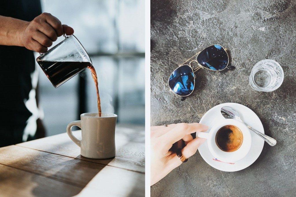 porovnání obrázků filtrované kávy a espressa