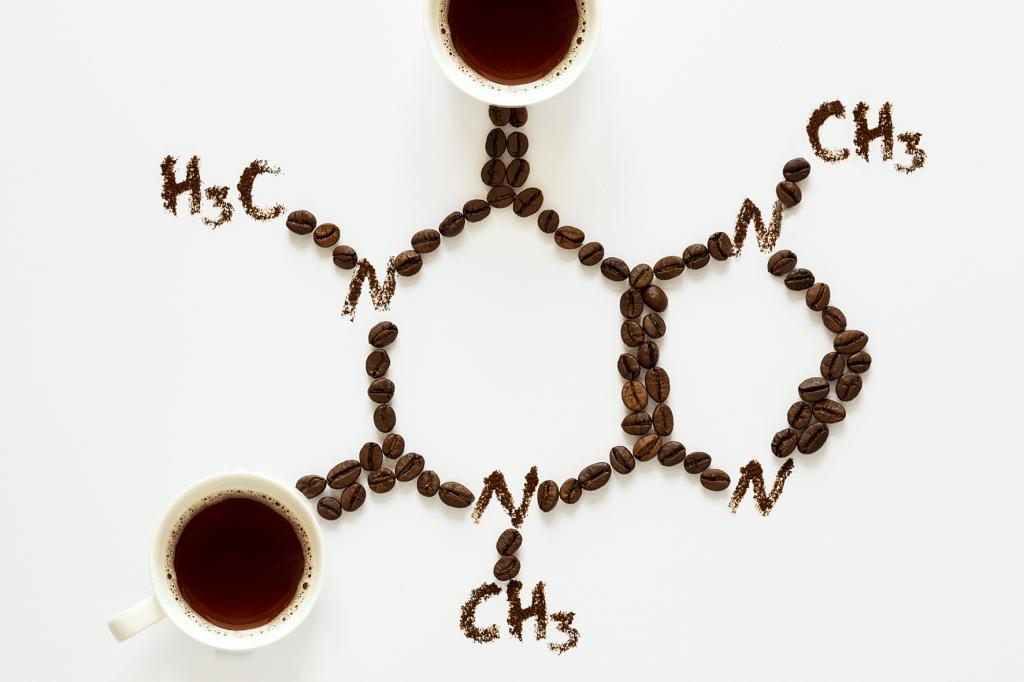 vzorec kofeinu ze zrn kávy