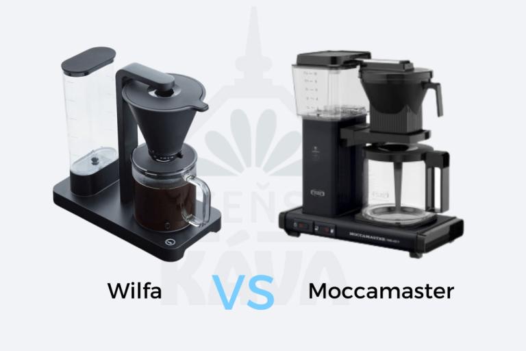 Černý překapávací kávovar Wilfa a černý překapávač kávy Moccamaster