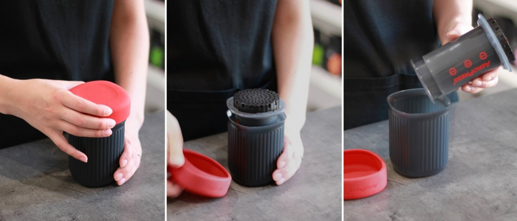 černý cestovní přístroj k přípravě filtrované kávy AeroPress Go
