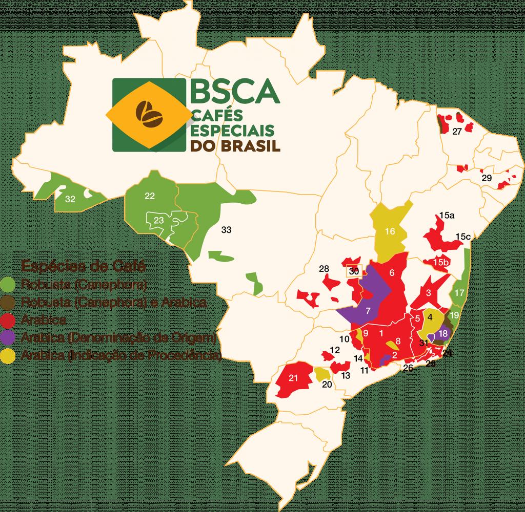 mapa kávových regionů v Brazíliizílie