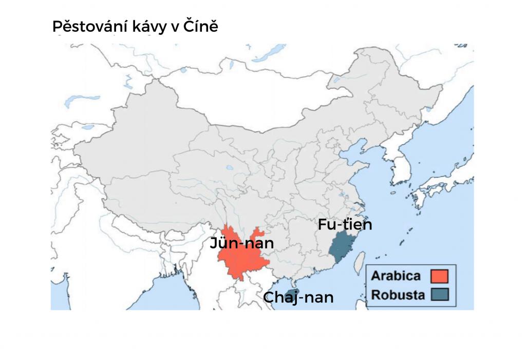 mapa oblastí produkujících kávu z Číny