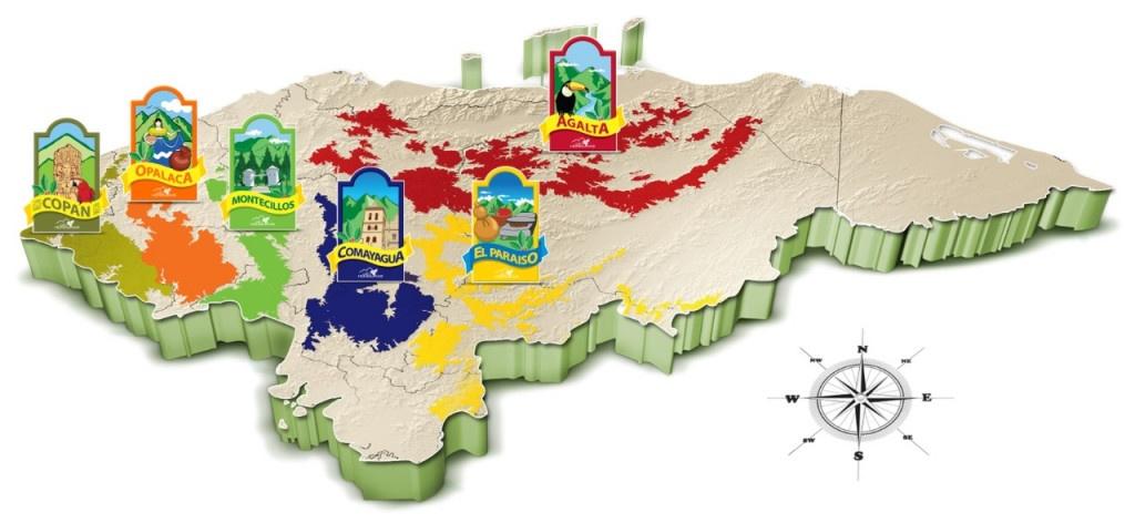 mapa oblastí pěstování kávy v hondurasu