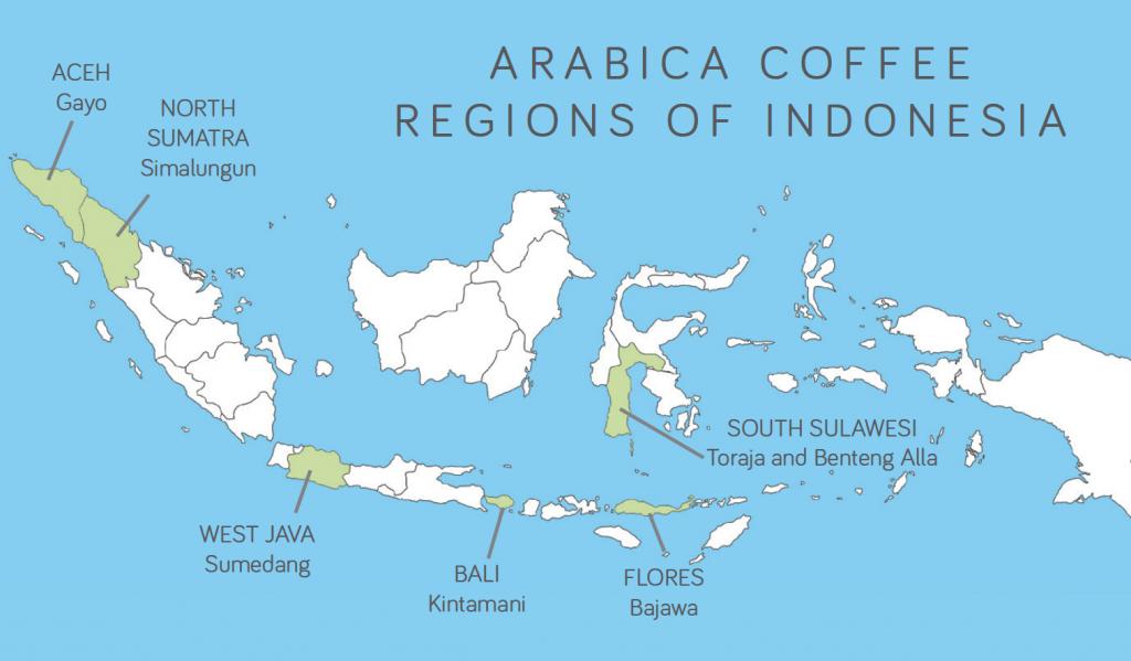 mapa oblastí produkujících kávu v indonesii