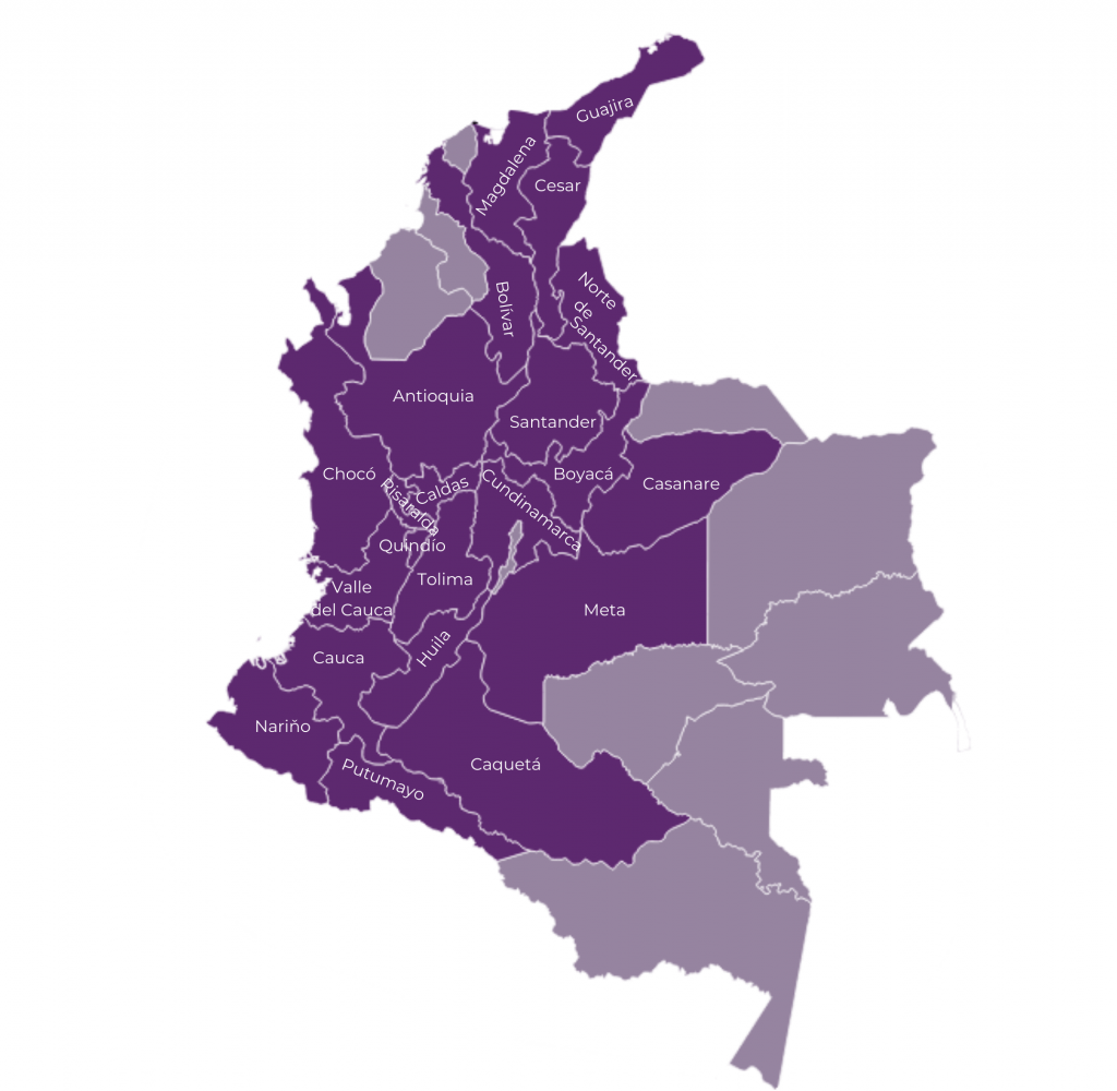 mapa oblastí pěstování kávy v kolumbii