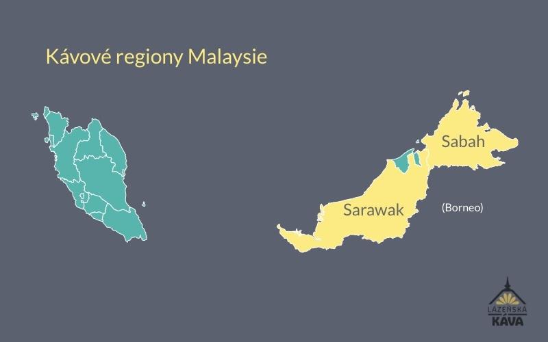 mapa oblastí produkujících káv v malajsii