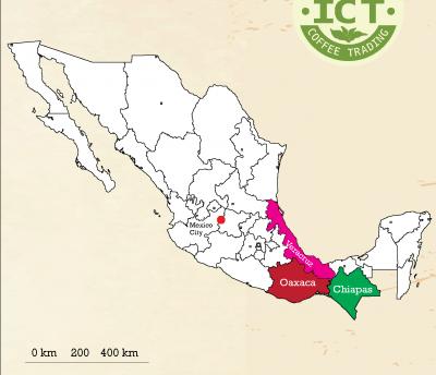 mapa oblastí a regionů pěstování kávy v maxiku