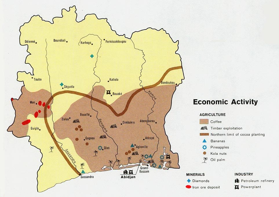 mapa oblasti produkce kávy na pobřeží slonoviny