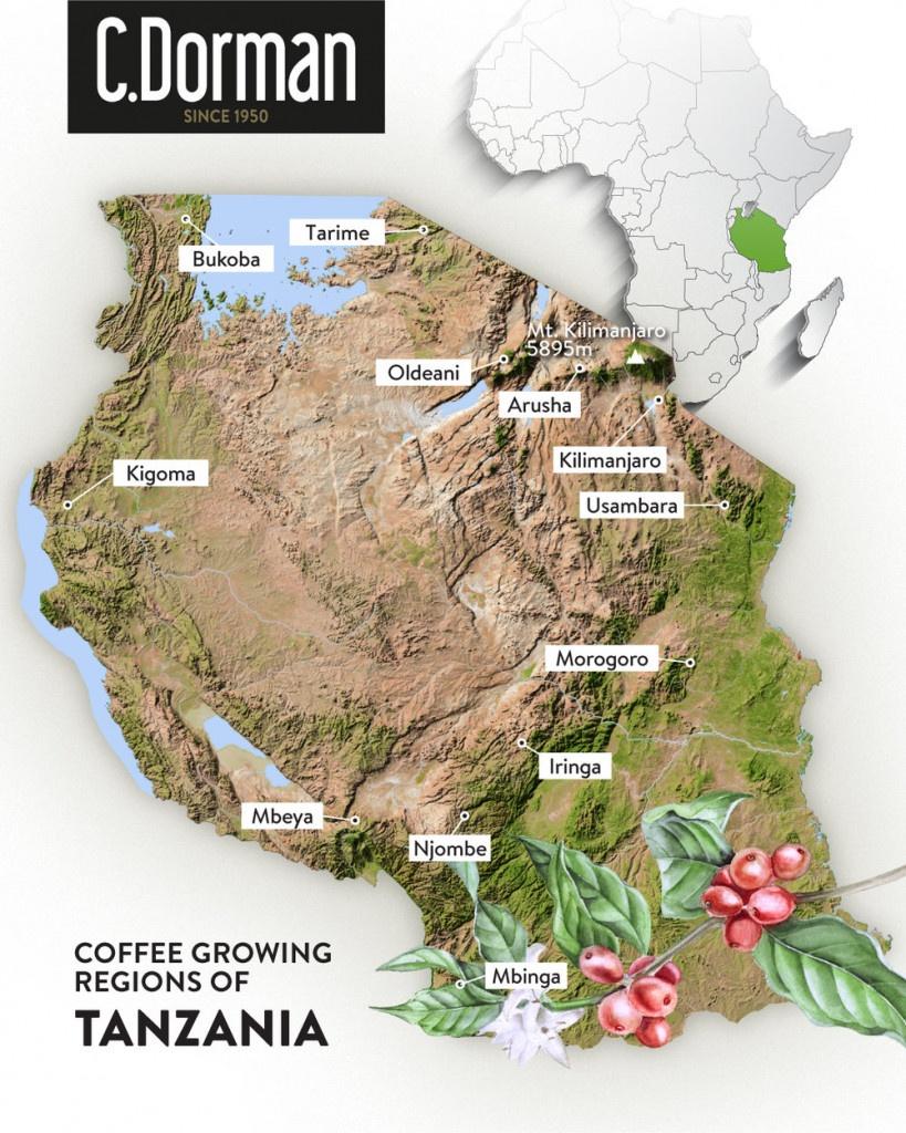 mapa oblastí produkce kávy v tanzanii