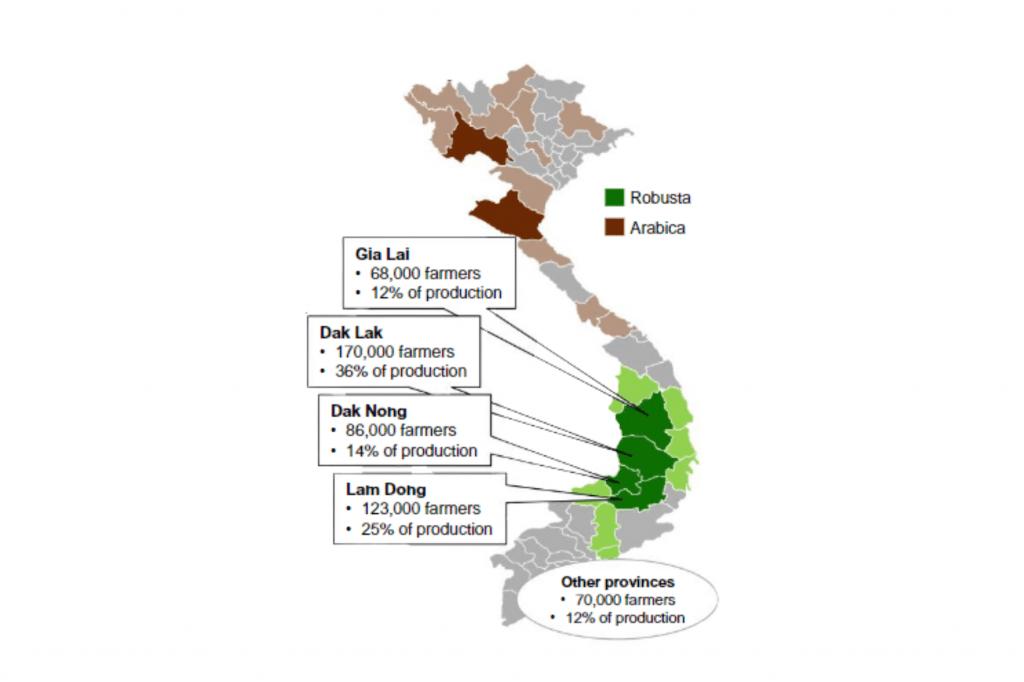 mapa oblastí produkce kávy ve vietnamu